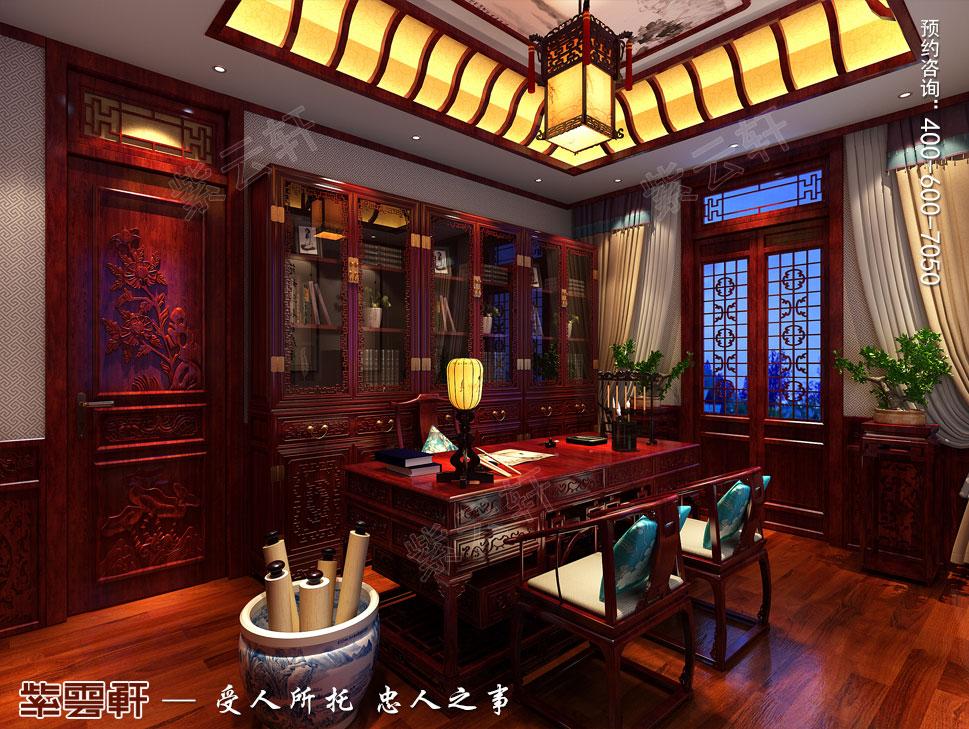 山东即墨别墅传统风格装修图片,中式风格书房设计