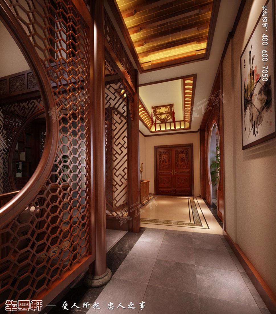 南京纯古典中式别墅装修效果图,过道中式设计