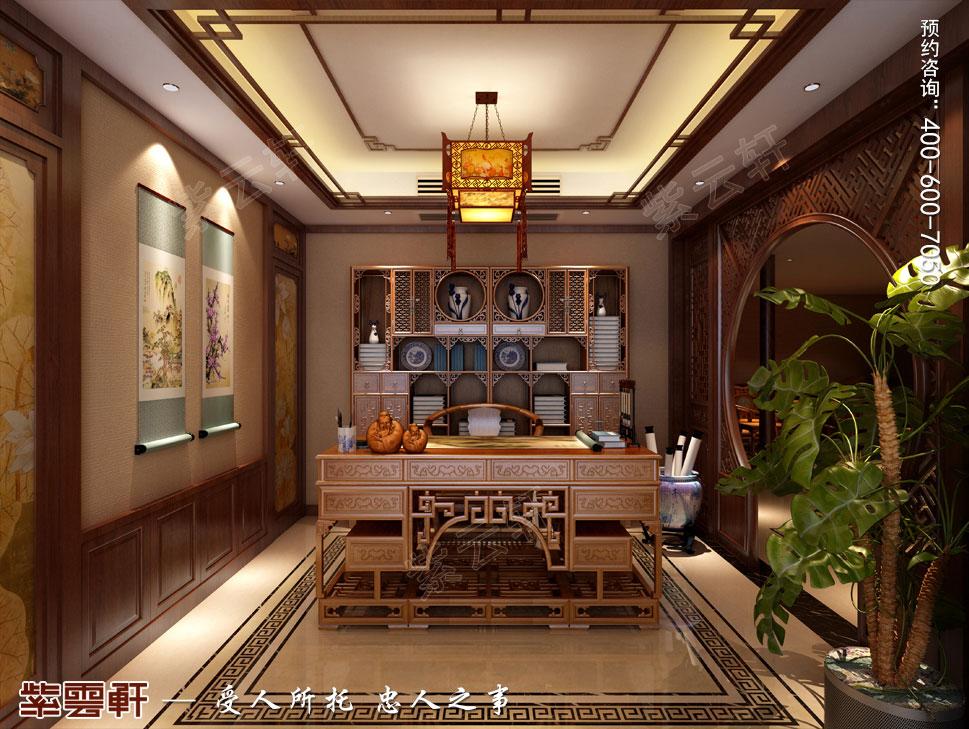 南京纯古典中式别墅装修效果图,中式书房设计图