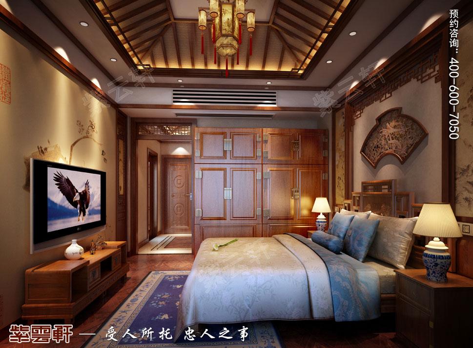 南京纯古典中式别墅装修效果图,主卧中式装修效果图
