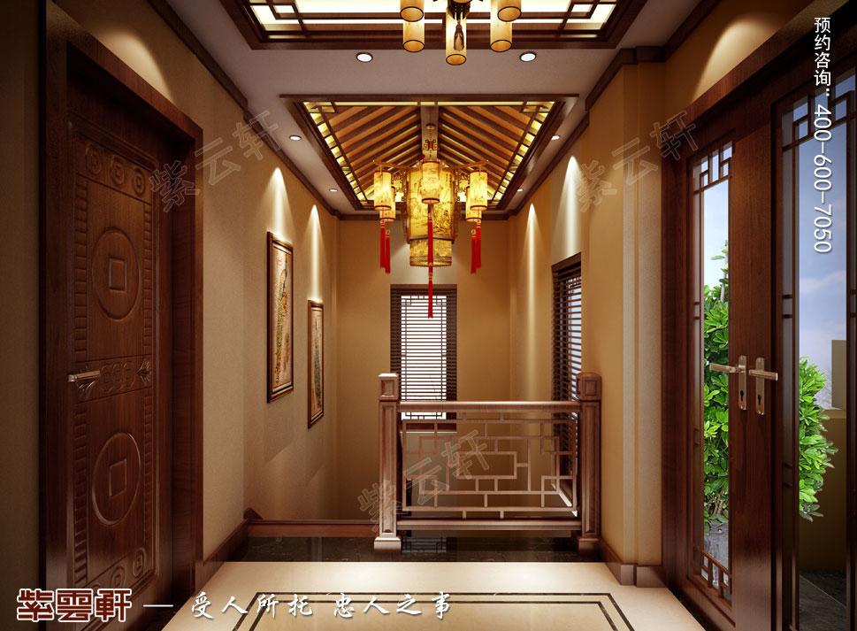 山东即墨别墅传统风格装修图片,楼梯间中式装修