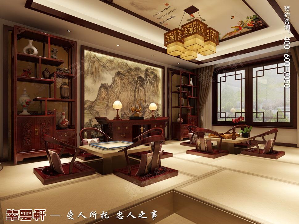河北邢台白总豪华别墅古典中式装修案例,中式茶室装修