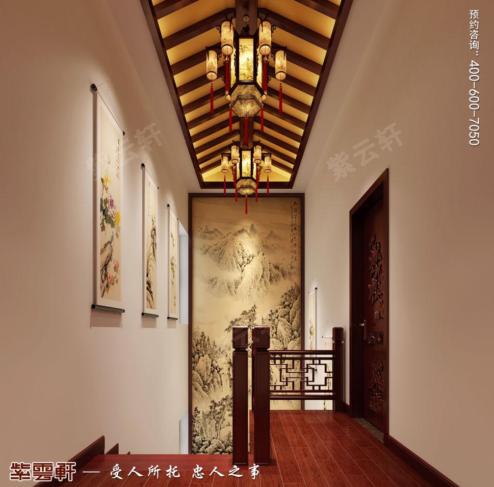 河北邢台白总豪华别墅古典中式装修案例,走廊中式设计