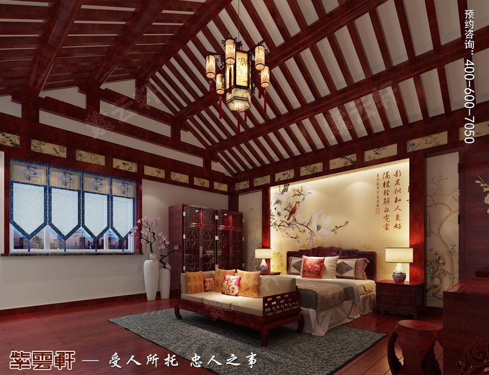 河北邢台白总豪华别墅古典中式装修案例,主卧中式装修设计