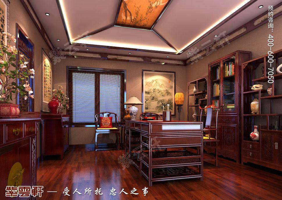 北京湾别墅古典中式装修风格,书房中式装修