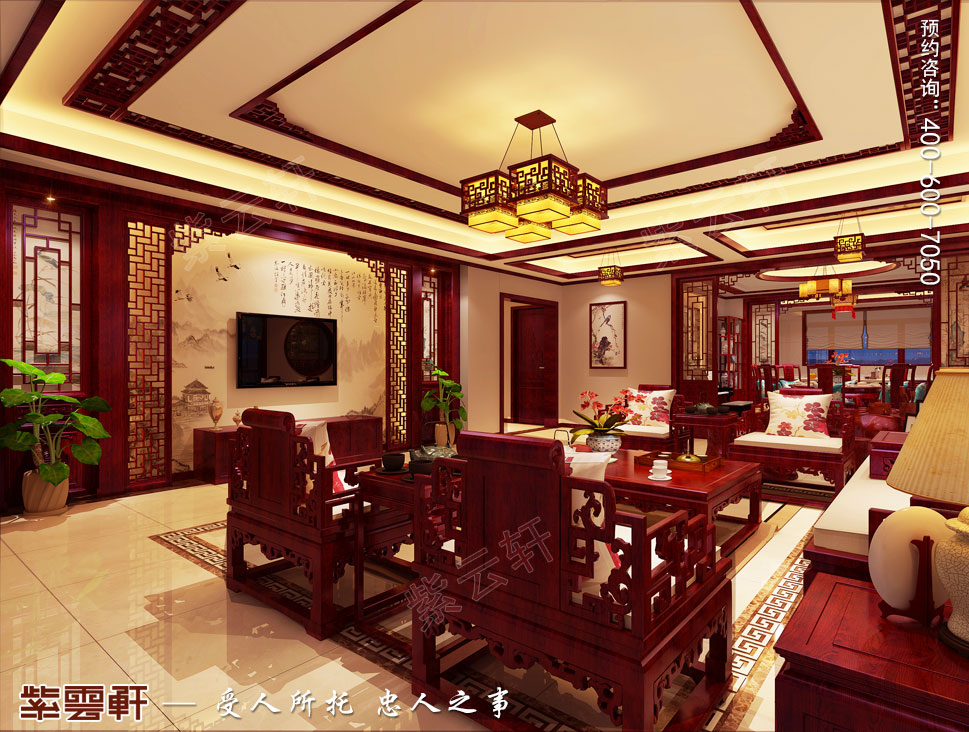 现代中式风格别墅装修效果图,客厅中式装修图