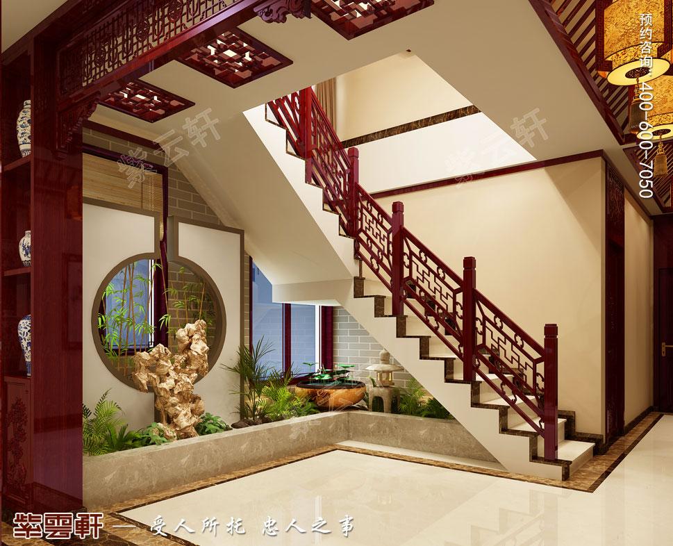 现代中式风格别墅装修效果图,楼梯间中式风格装修