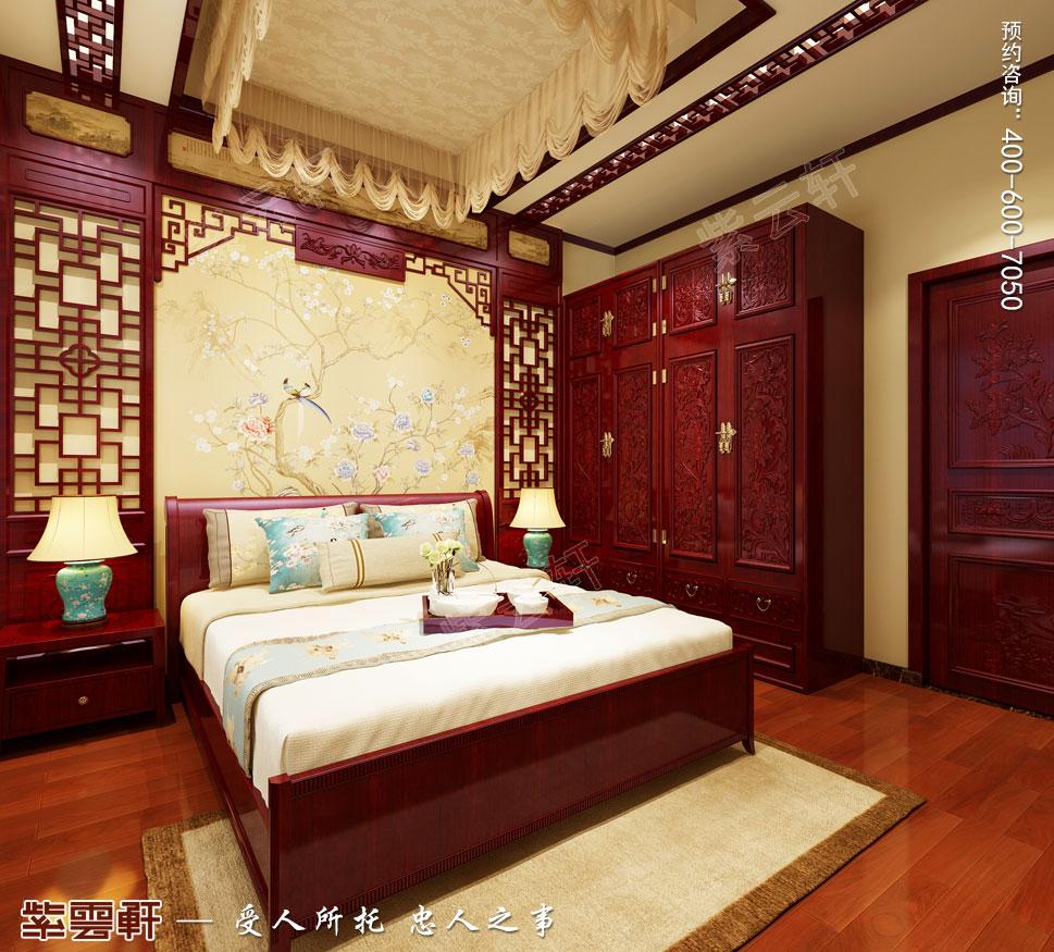 现代中式风格别墅装修效果图,次卧中式装修