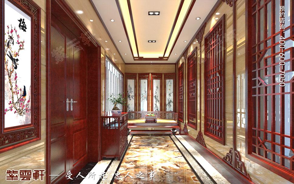 江苏泰州肖总别墅中式装修案例,中式玄关设计