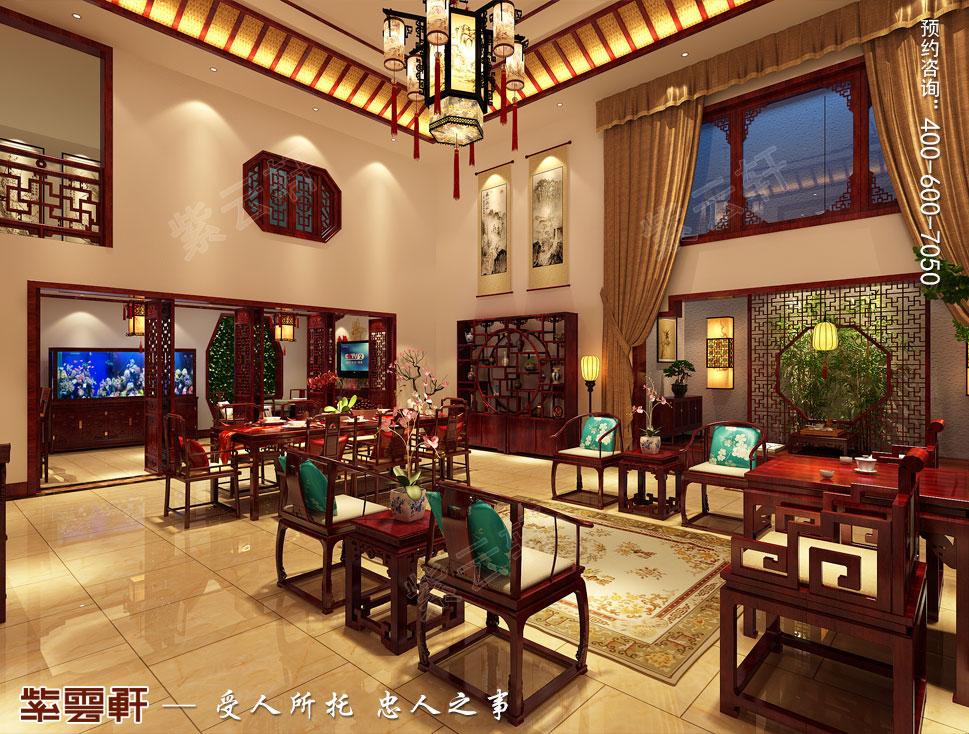 江苏泰州肖总别墅中式装修案例,客厅中式风格装修