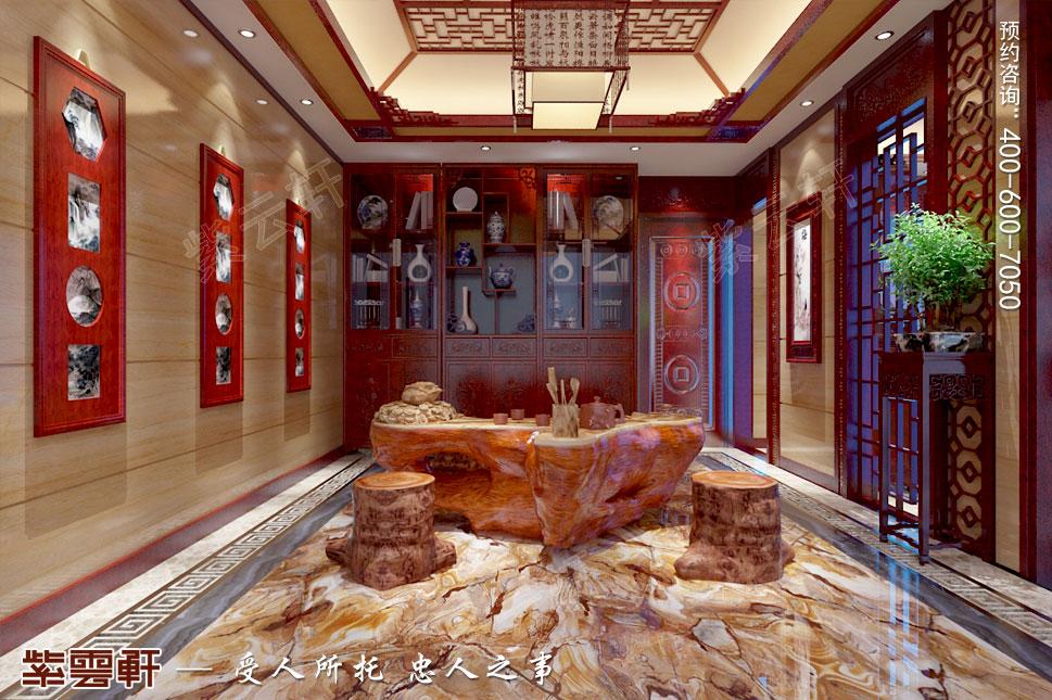 江苏泰州肖总别墅中式装修案例,中式风格茶室设计