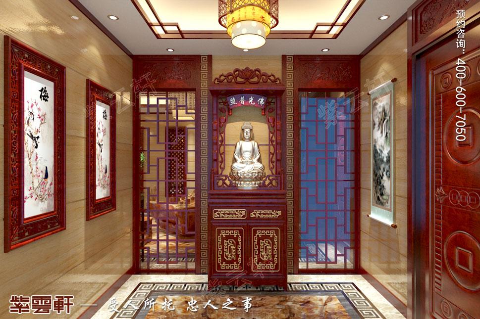 江苏泰州肖总别墅中式装修案例,佛堂中式装修设计