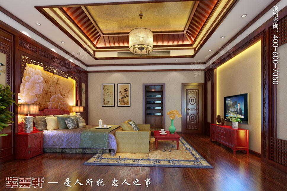 江苏泰州肖总别墅中式装修案例,男主卧中式装修图