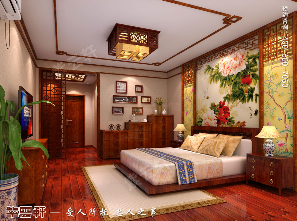 江苏泰州肖总别墅中式装修案例,老人房中式装修