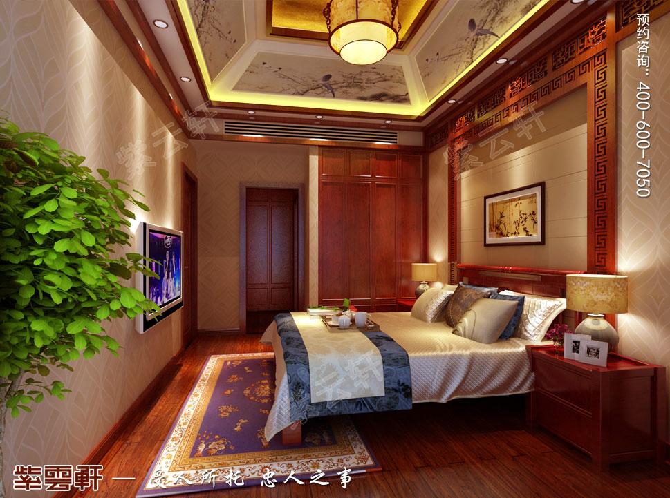 江苏泰州肖总别墅中式装修案例,女主卧中式装修