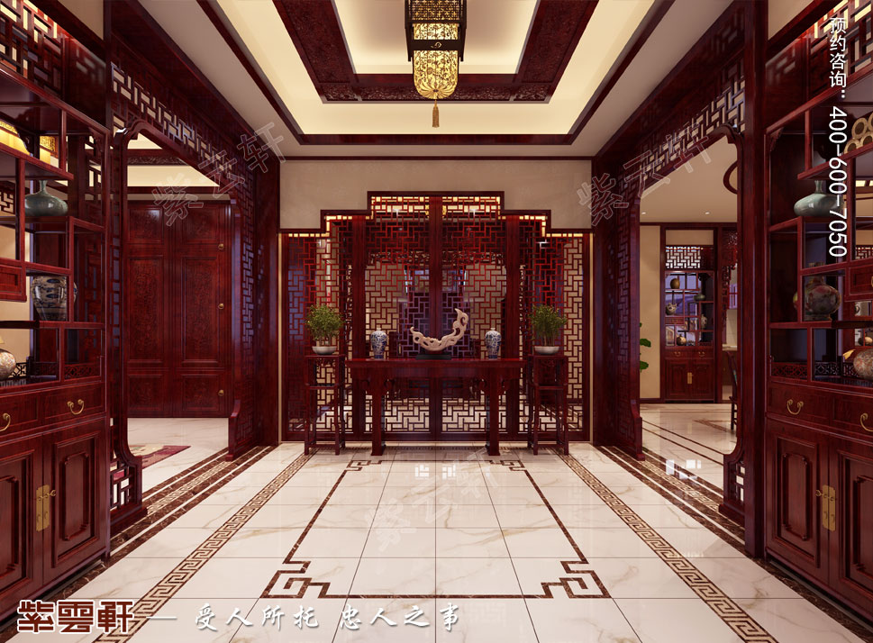 内蒙古赤峰古典中式装修效果图,中式风格玄关设计