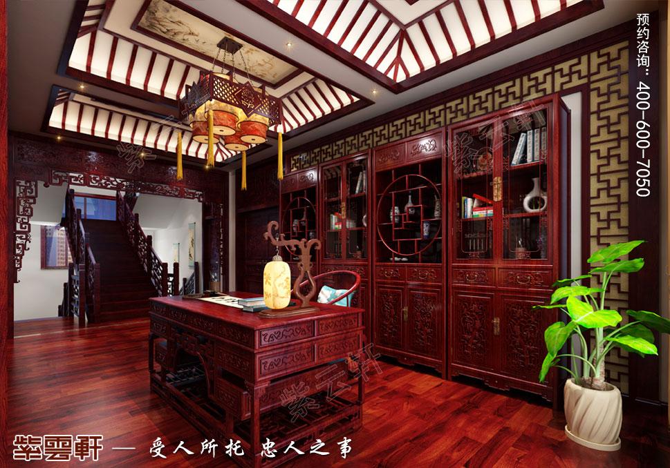 内蒙古赤峰古典中式装修效果图,书房中式设计