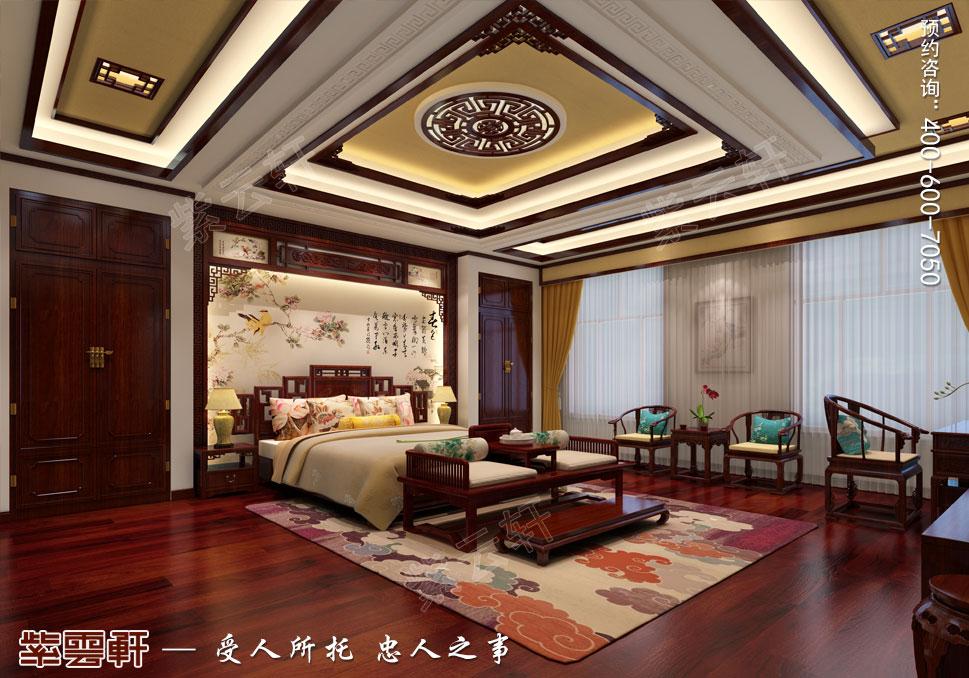 内蒙古赤峰古典中式装修效果图,男主卧中式装修