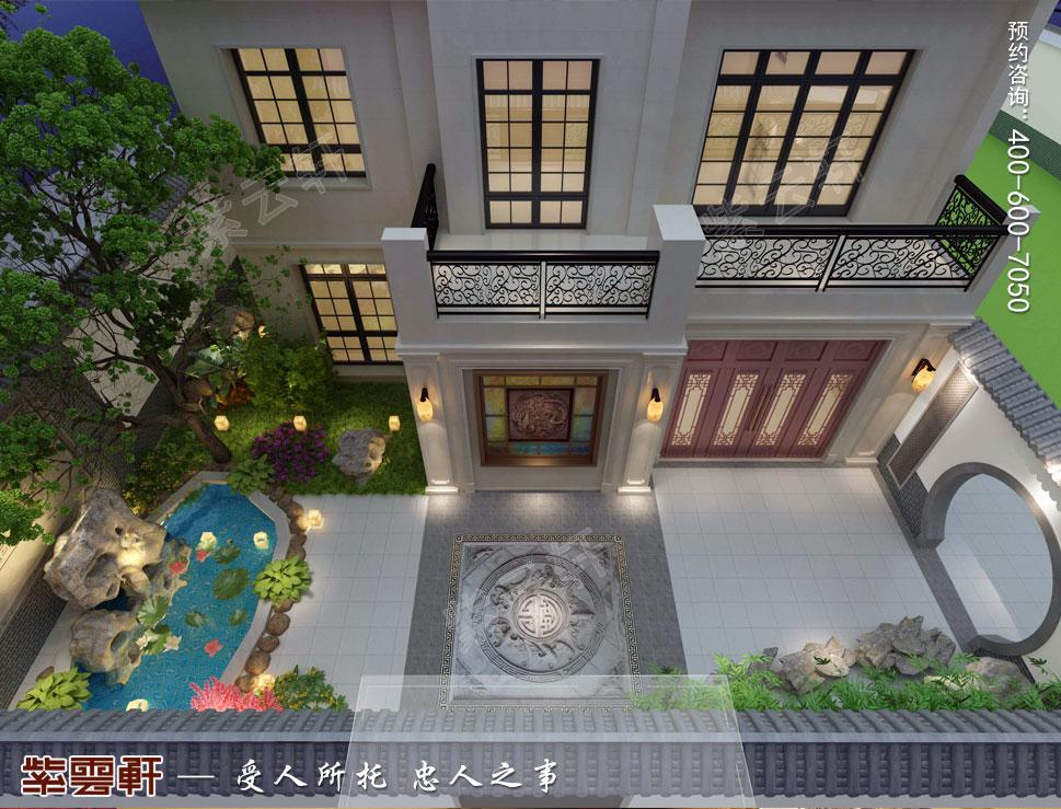 山东济南腊山御园中式别墅装修案例,中式风格庭院设计图