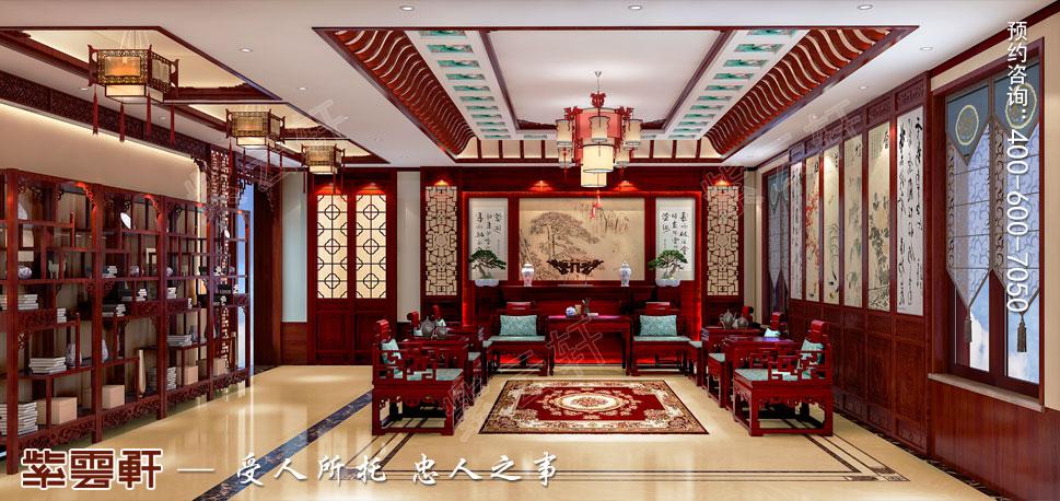 山东济南腊山御园中式别墅装修案例,中堂中式装修