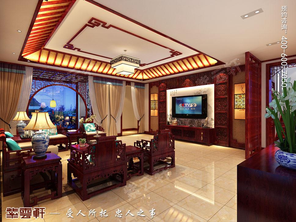 山东济南腊山御园中式别墅装修案例,起居室中式设计