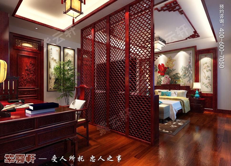 山东济南腊山御园中式别墅装修案例,主卧中式装修