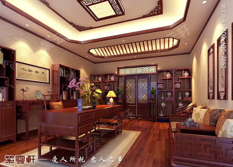 山东济南腊山御园中式别墅装修案例,书房中式装修