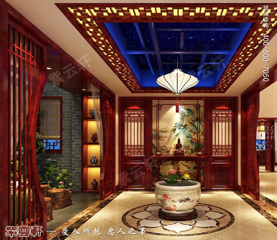山东济南腊山御园中式别墅装修案例,地下室门厅设计