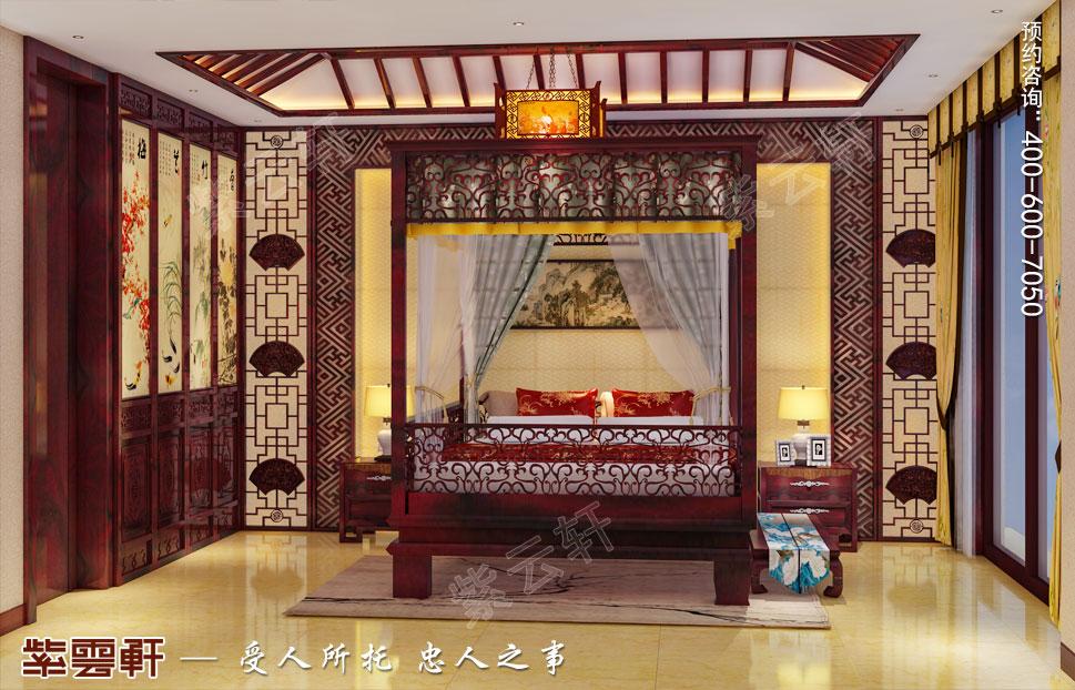 山东济南腊山御园中式别墅装修案例,主卧中式装修设计