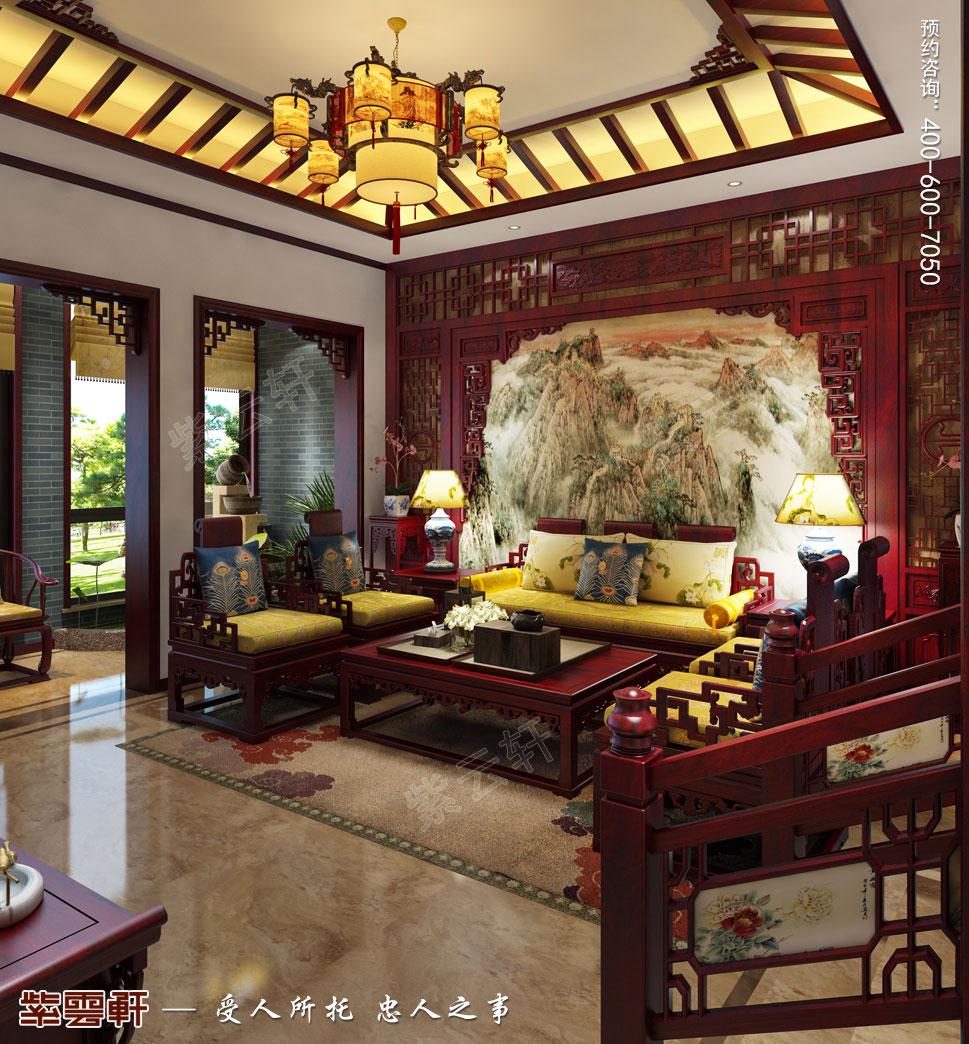 常州天誉花园别墅简约古典中式效果图,客厅中式装修