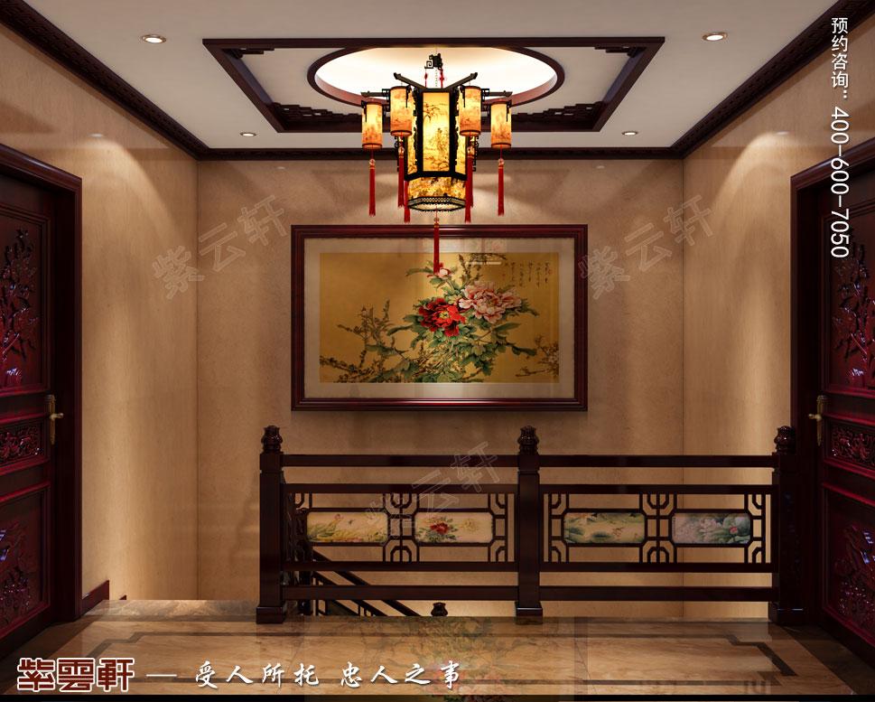 常州天誉花园别墅简约古典中式效果图,电梯间中式装修