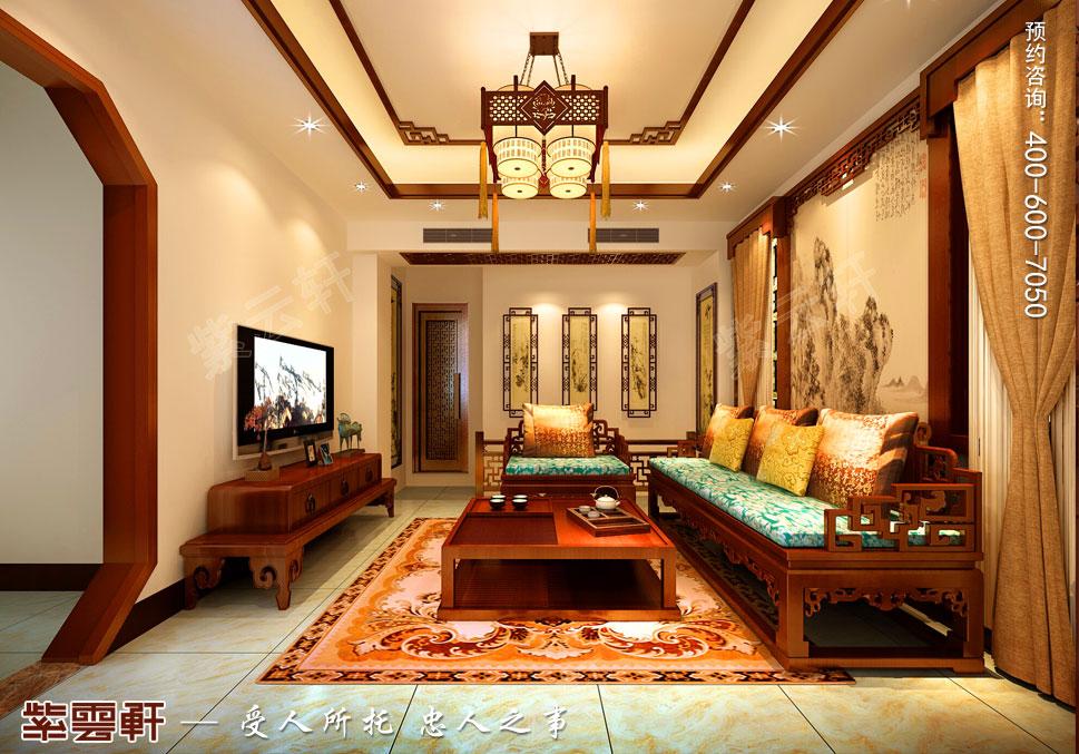 江苏扬州别墅简约中式装修风格,二层客厅中式装修图