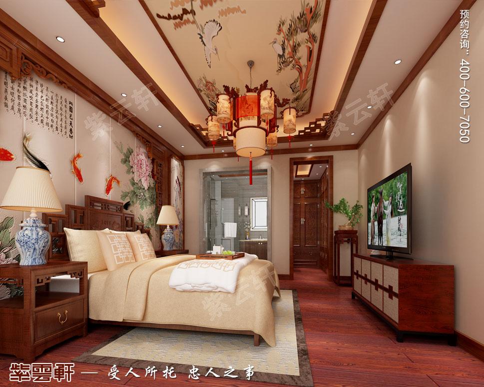 江苏扬州别墅简约中式装修风格,主卧中式装修