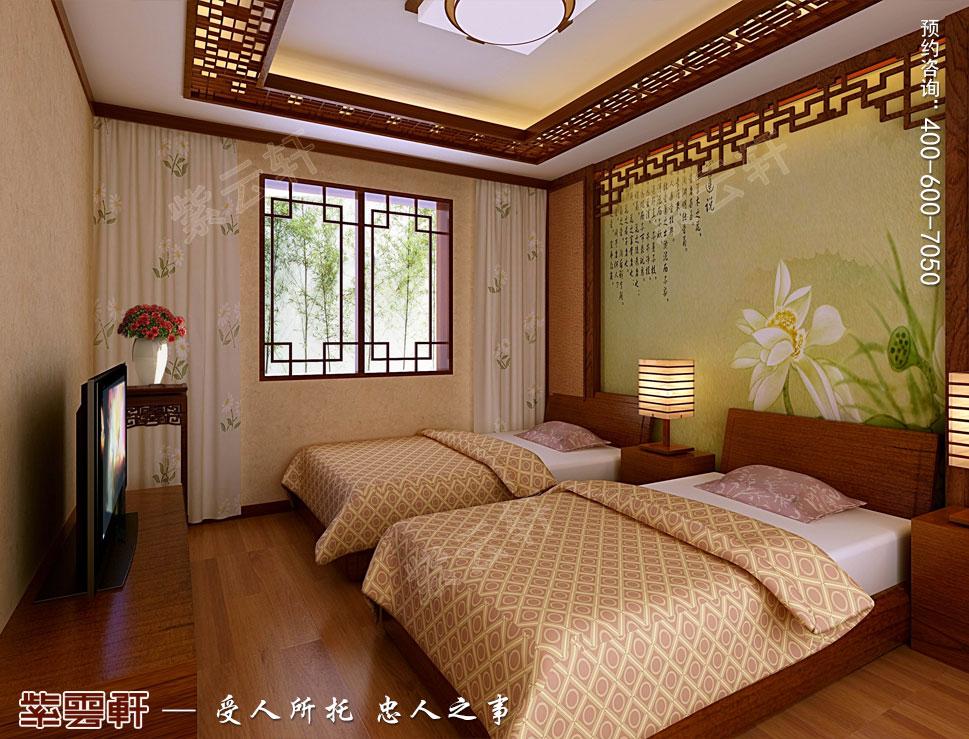 江苏扬州别墅简约中式装修风格,客房中式装修