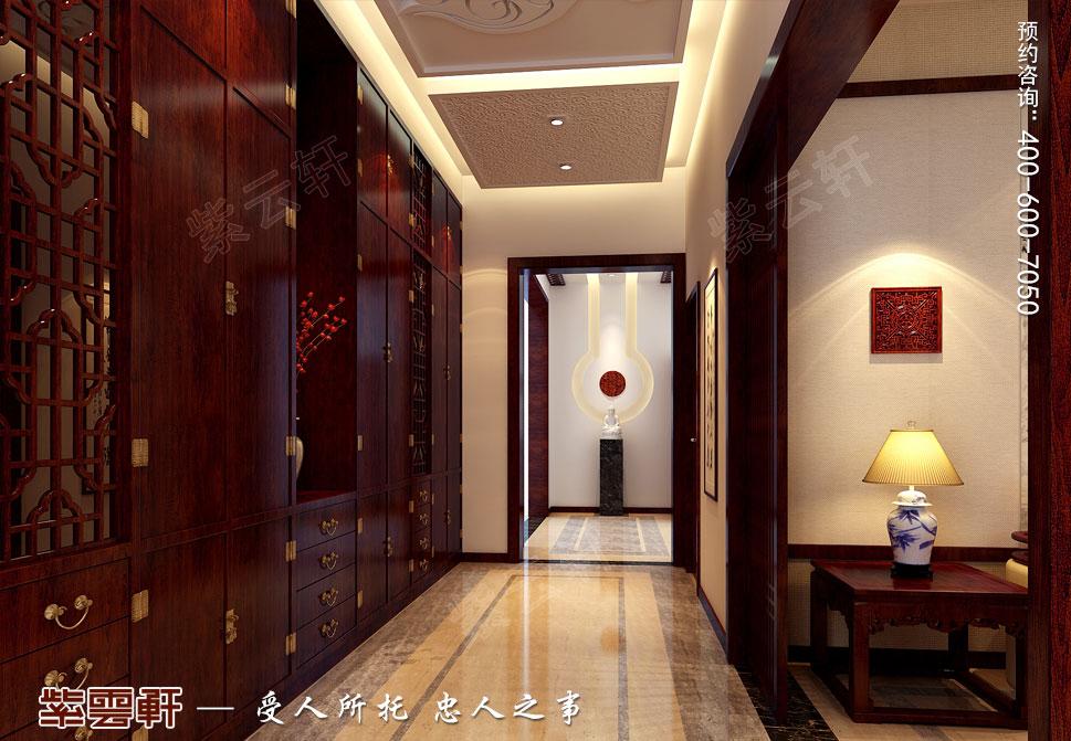 北京褐石园别墅现代豪华中式装修图,门厅中式风格设计图