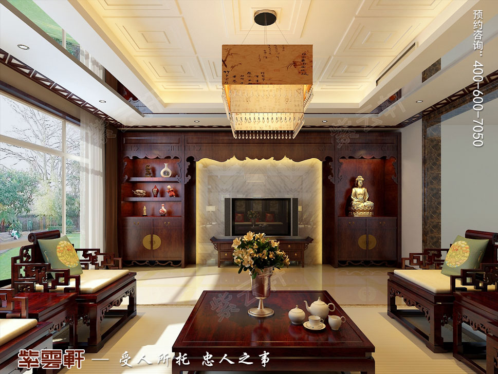 北京褐石园别墅现代豪华中式装修图,中式客厅设计图