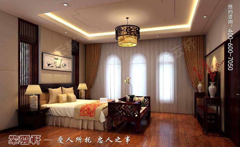 北京褐石园别墅现代豪华中式装修图,老人房中式装修效果图
