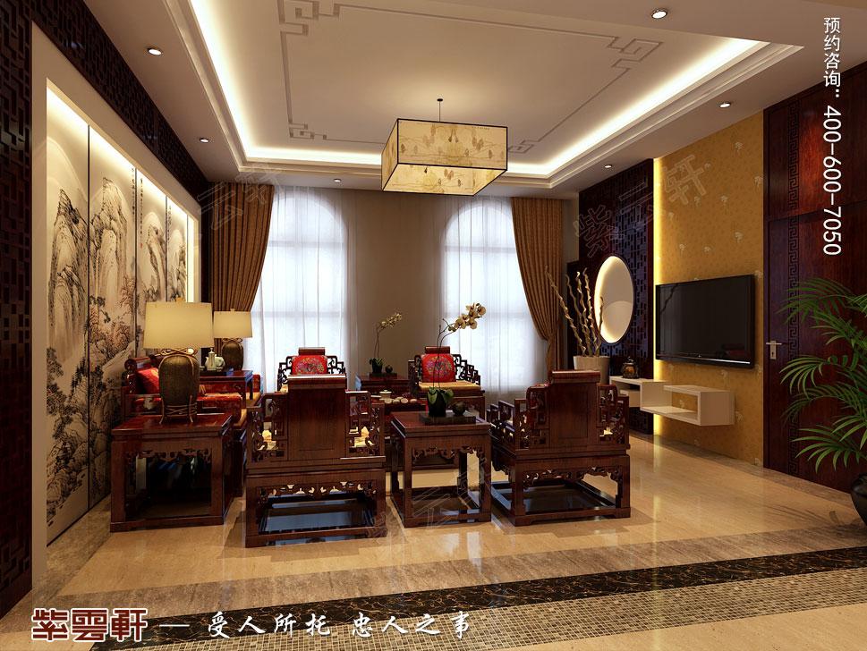 北京褐石园别墅现代豪华中式装修图,二层客厅装修图