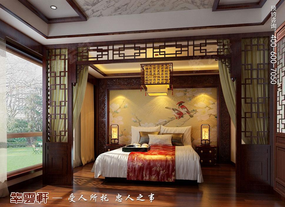 北京褐石园别墅现代豪华中式装修图,主卧室中式装修效果图