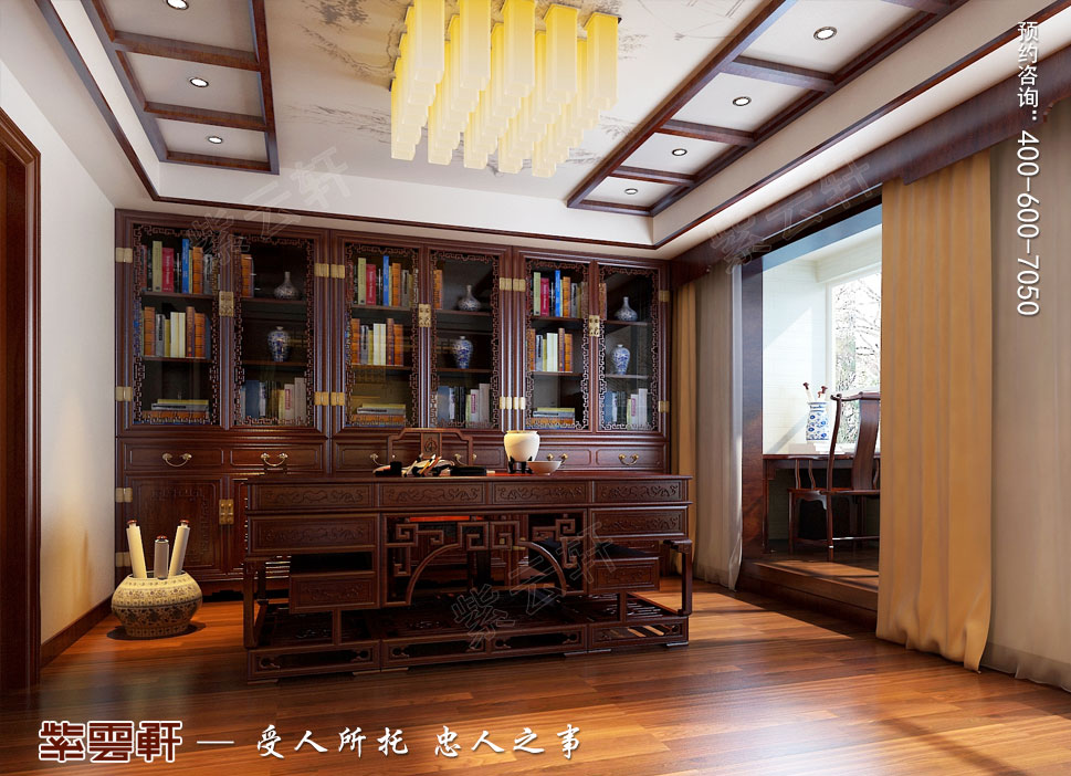 北京褐石园别墅现代豪华中式装修图,中式书房设计图