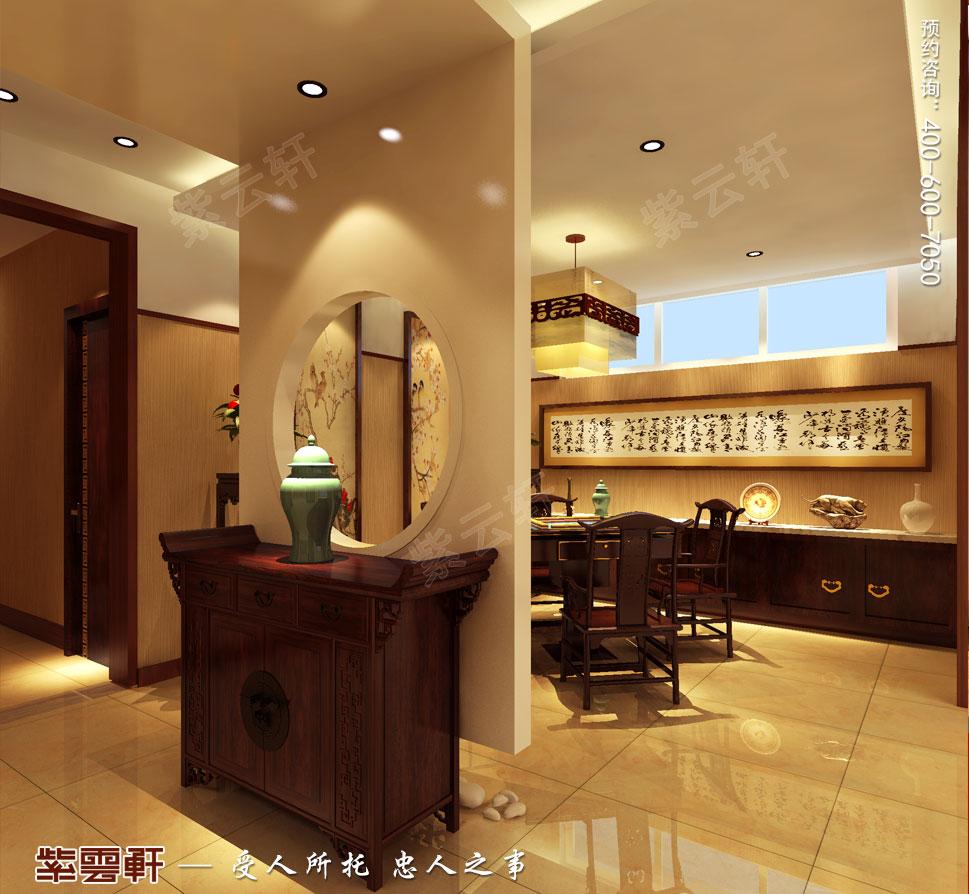 北京褐石园别墅现代豪华中式装修图,地下麻将室装修
