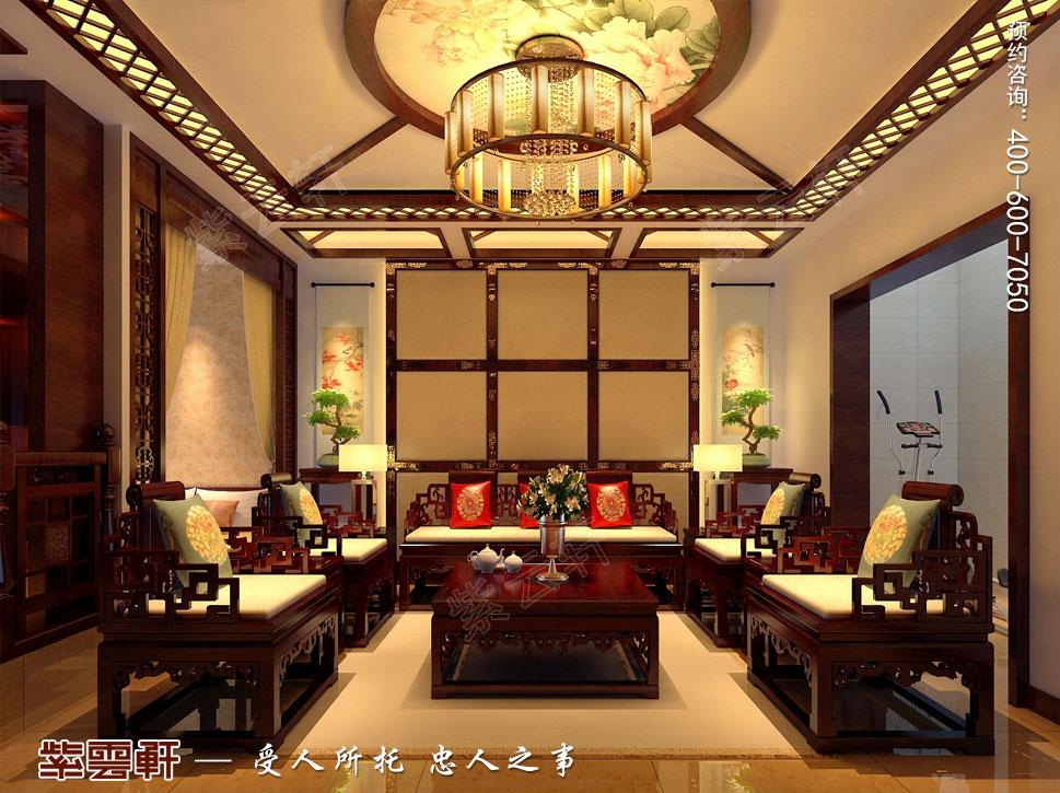 北京褐石园别墅现代豪华中式装修图,中式影音室设计