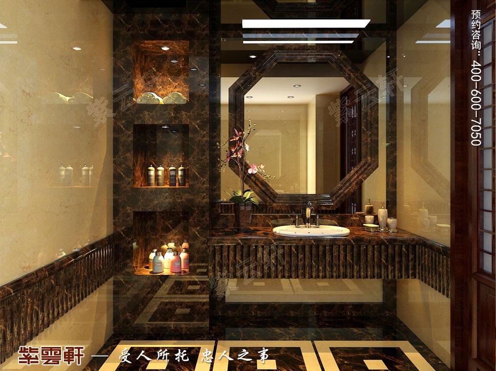 北京褐石园别墅现代豪华中式装修图,卫生间中式装修