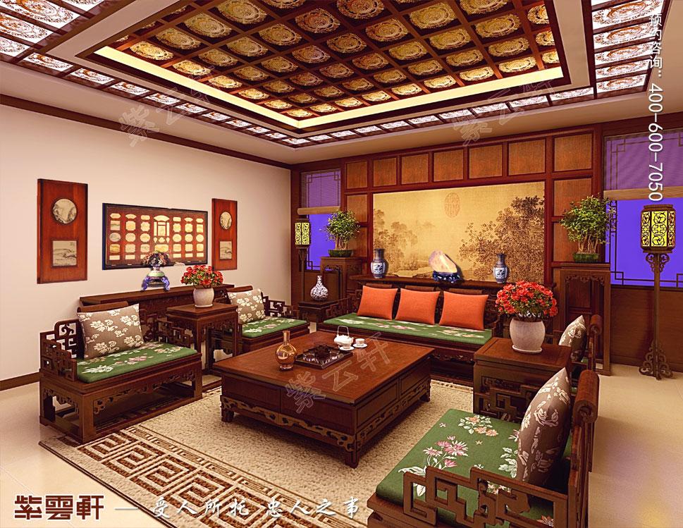 江苏盐城简约古典别墅中式装修设计,中式风格客厅装修图