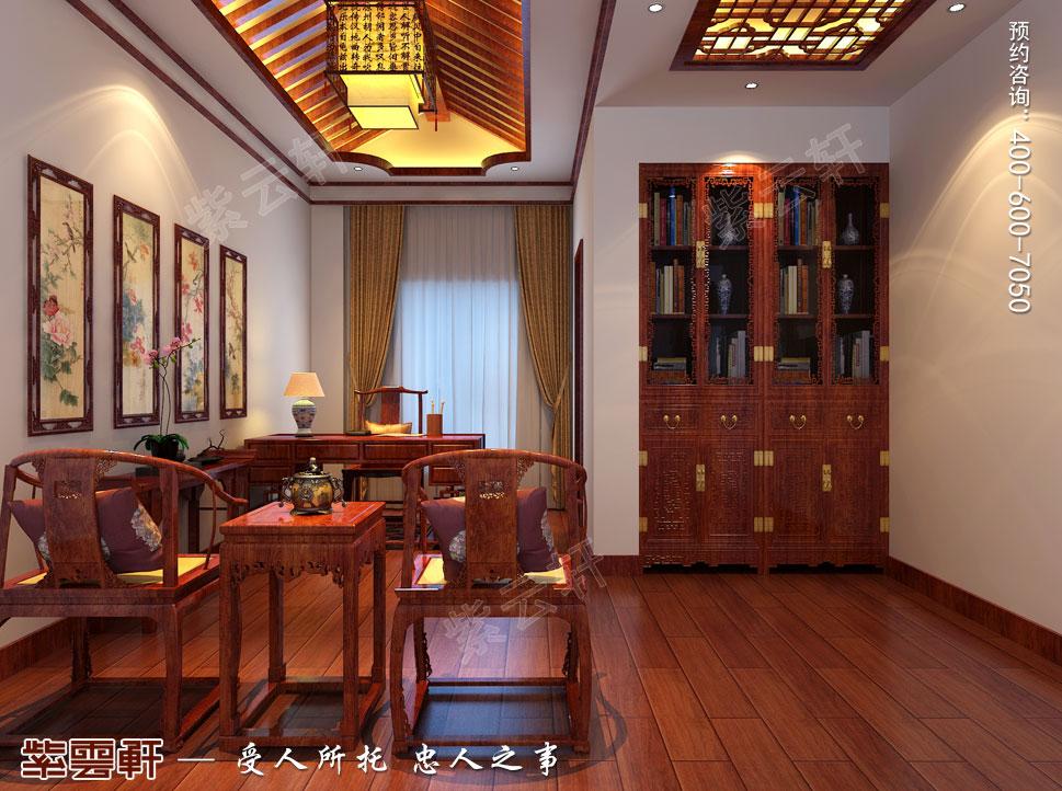 江苏盐城简约古典别墅中式装修设计,中式风格书房设计