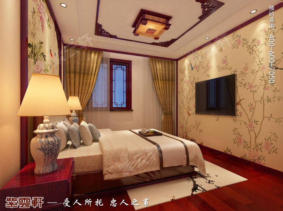 江苏盐城简约古典别墅中式装修设计,客房中式设计