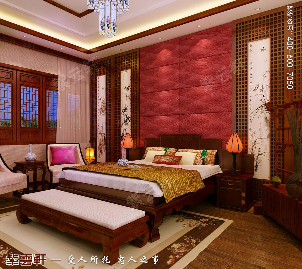 江苏盐城简约古典别墅中式装修设计,主卧中式装修效果图