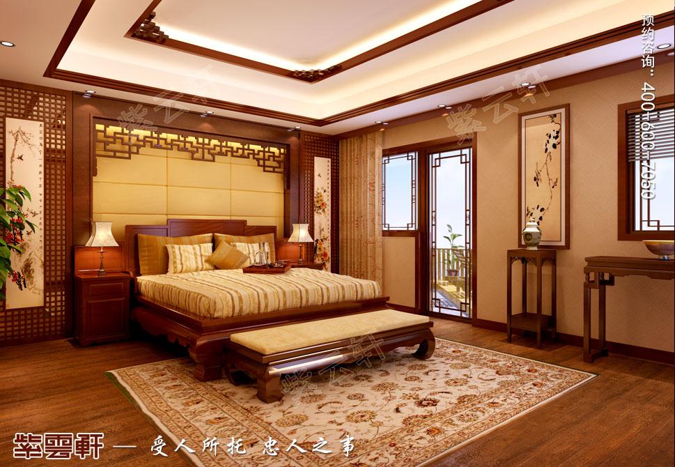 江苏盐城简约古典别墅中式装修设计,男主卧中式装修