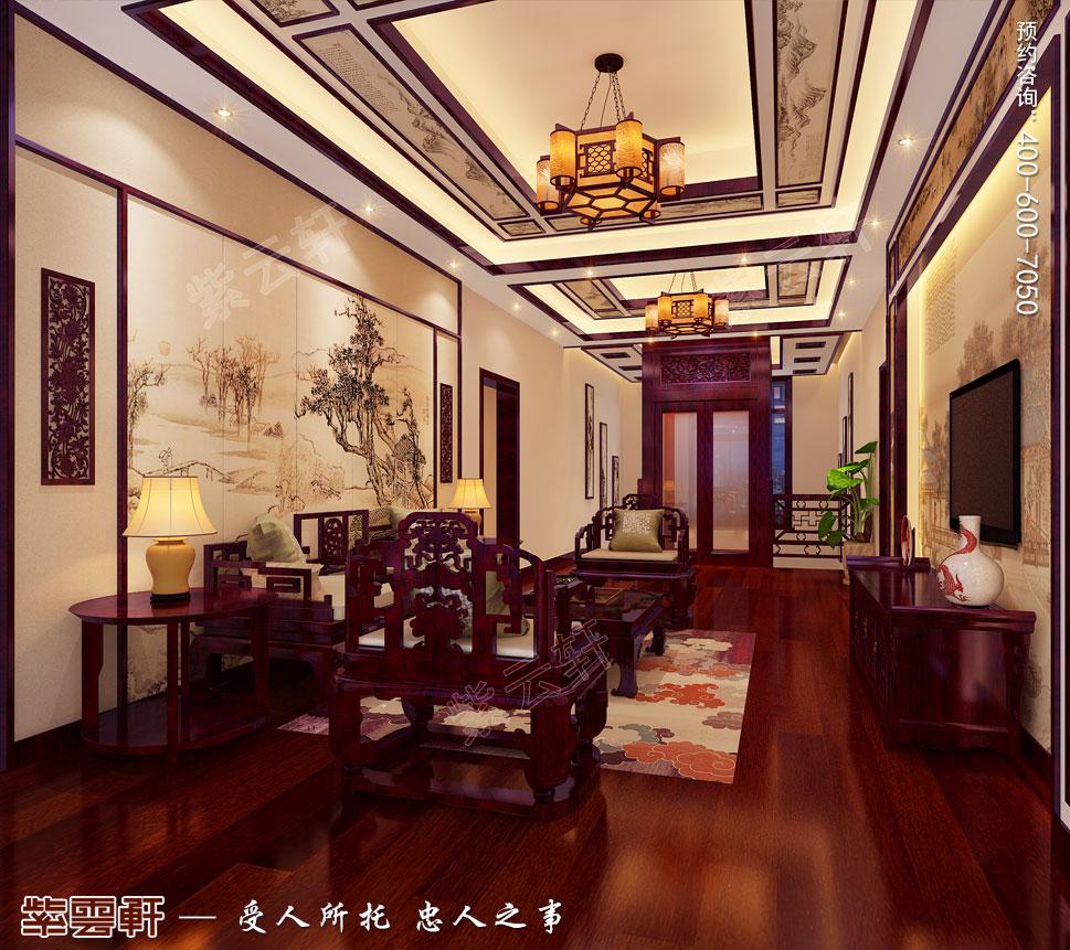 江苏盐城简约古典别墅中式装修设计,二楼起居室中式风格设计