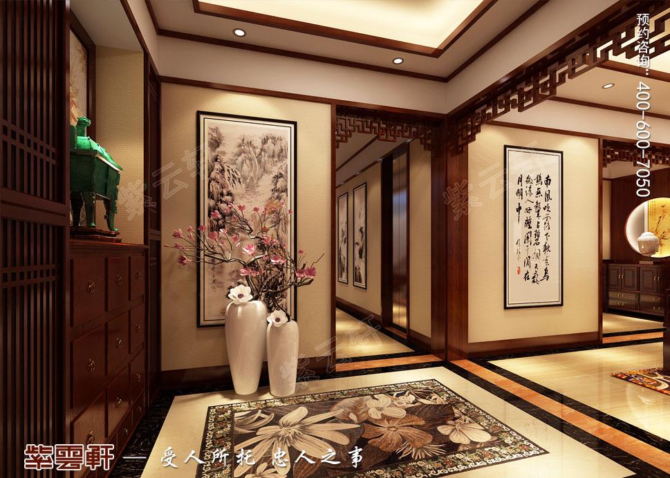 山东威海别墅现代中式装修效果图,门厅中式装修效果图